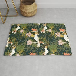 Drawing of exotic birds in the dark jungle Rug