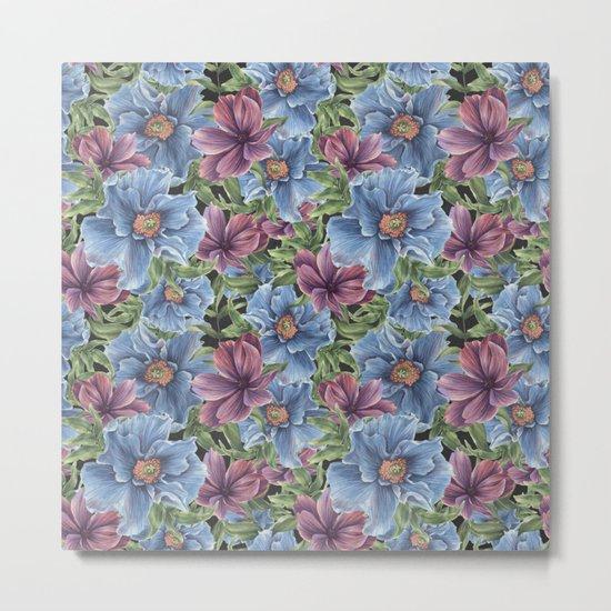 Hibiscus Flowers on Chalkboard Metal Print