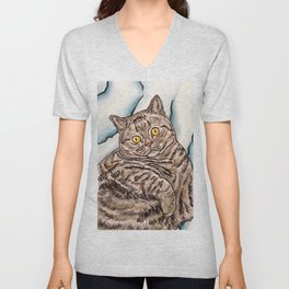 Grey Cat Unisex V-Neck