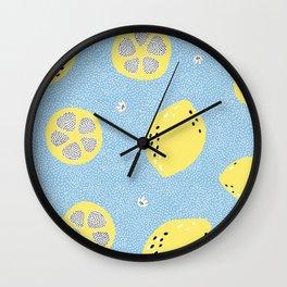 Yellow Watercolor Lemon & Beautiful Blue Background Wall Clock