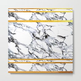 Marble and Golden Stripes Metal Print