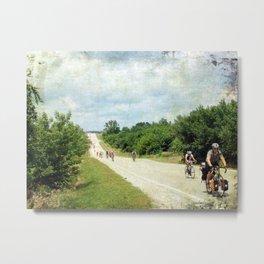 Bicycle Riders Arrive in Fairfield Metal Print
