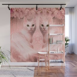 """""""Pink Pastel Doppelganger Cats at the Garden"""" Wall Mural"""