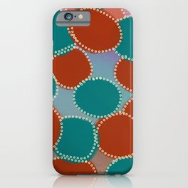 Turquoise and Red Abstract iPhone Case