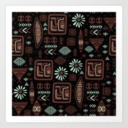 Hand Drawn Ethnic Tribal Aztec Pattern Art Print
