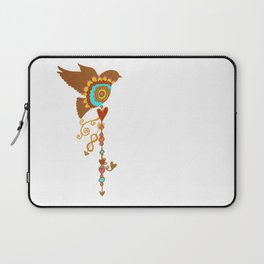 Rainbow Pride - bird with love charms on white - love is love - CELEBRATE! Laptop Sleeve