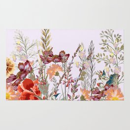 Spring field pattern with poppy and cosmos flowers Rug