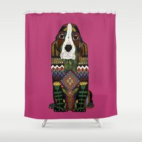 the hound Shower Curtains featuring Basset Hound fuchsia pink by Sharon Turner