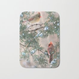 Winter Pair Cardinals (v) Bath Mat