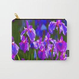 PURPLE IRIS GREEN GARDEN  FLOWERS FLORAL ART Carry-All Pouch