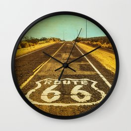 Route 66 Road Marker Wall Clock