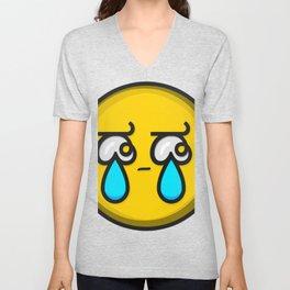 Crying Tears Smiley Face Emoji Unisex V-Neck