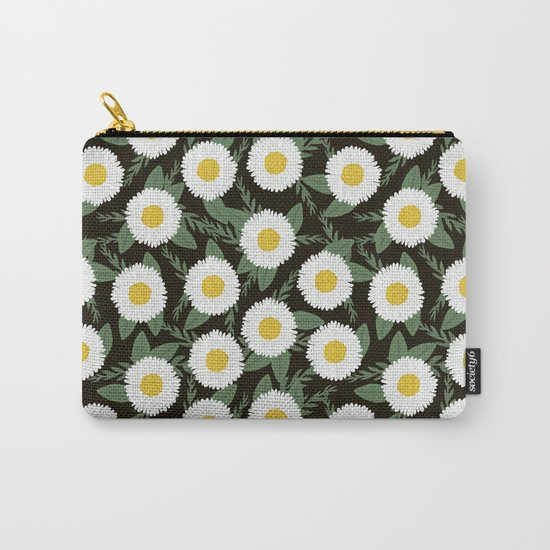 Daisies botanical floral print minimal flowers basic florals pattern charlotte winter dark Carry-All Pouch