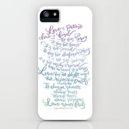 Love is patient, Love is Kind-1 Corinthians 13:4-8 iPhone Case