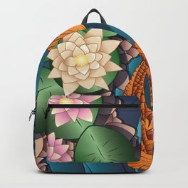 Carp Koi Fish in pond 002 Backpack