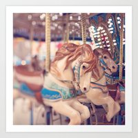 carousel Art Prints featuring Carousel by Laura Ruth