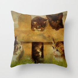 Kittens at the Fence Throw Pillow