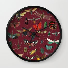 Lovely Butterfly Red Wall Clock