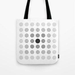 Black and White centered lines Tote Bag