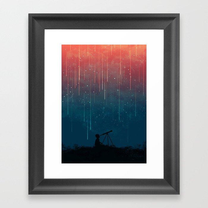 Meteor rain Gerahmter Kunstdruck