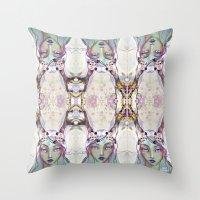 jane davenport Throw Pillows featuring Dear Deer (2) by Jane Davenport - by Jane Davenport