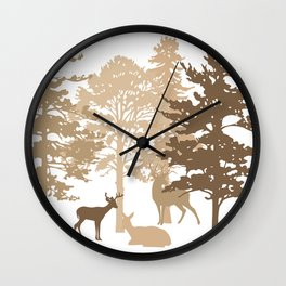 Morning Deer In The Woods No. 4 Wall Clock