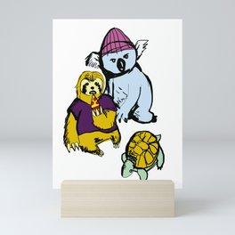 sloth koala turtle squad Mini Art Print