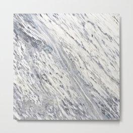 Elegant vintage rustic gray white trendy marble Metal Print