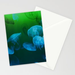 Moon Jellyfish - Blue and Green Stationery Cards
