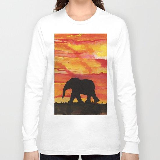 Baby Elephant Sunset Landscape Long Sleeve T-shirt