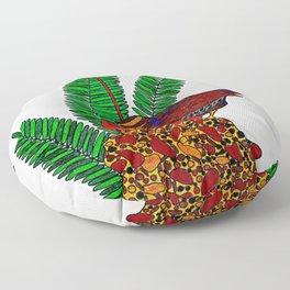 Little Bird In Evergreen Boughs Floor Pillow