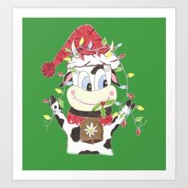 Snowbell and the Christmas lights Art Print
