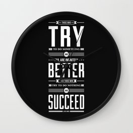 Lab No. 4 Those Who Try To Do Lloyd Jones Motivational Quote Wall Clock
