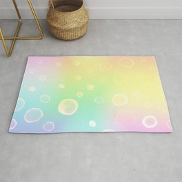Magical Rainbow Gradient with Watercolor Bubbles Rug
