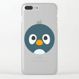Cartoon Penguin Face Emote Clear iPhone Case