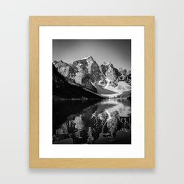 Moraine Lake (Black & White) Framed Art Print