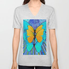CONTEMPORARY BLUE & YELLOW BUTTERFLIES GRAPHIC ART Unisex V-Neck