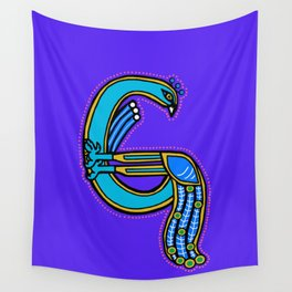 Celtic Peacock Letter G 2017 Wall Tapestry