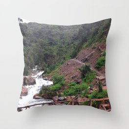 Alpine Bridge Adventure Throw Pillow