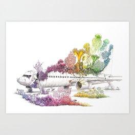 Long Landed - Plane Illustration - Rainbow Nature Art Print