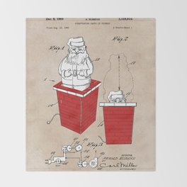 patent art Rubens Disappearing Santa in Chimney 1960 Throw Blanket