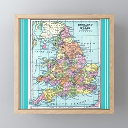 Vintage Map  of England and Wales Framed Mini Art Print