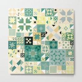 Teal Quilt Pattern Metal Print