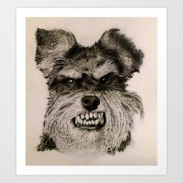 SCHNAUZER PORTRAIT. IMAGE IS MADE ENTIRELY OF DOTS. Art Print