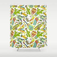 mexico Shower Curtains featuring Viva Mexico by Favete Art