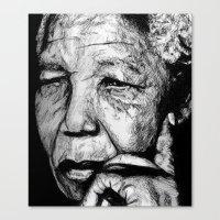 mandela Canvas Prints featuring Mandela by DeMoose_Art