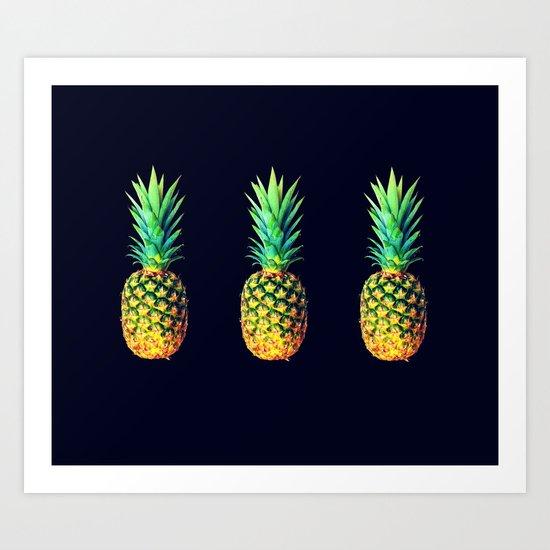 Night Knights Pineapples Art Print