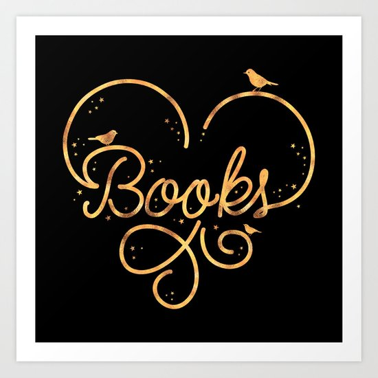 Heart Books Art Print
