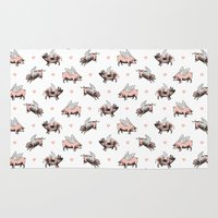 pigs Area & Throw Rugs featuring Flying Pigs by Eclectic at HeART