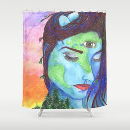 Mother Earth and a Sunset Shower Curtain